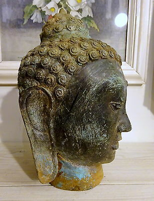 Antique Vintage Tibet Buddha Statue Head Patinated Metal Garden Statuary