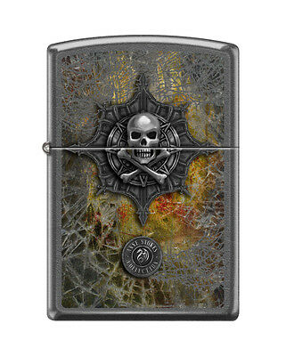 Zippo 8330, Anne Stokes-Skull & Crossbones, Gray Dusk Finish Lighter