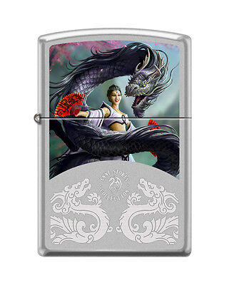 Zippo 2919, Anne Stokes-Woman & Dragon, Satin Chrome Finish Lighter