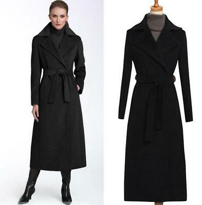 Womens Black Cashmere Wool Blend Lapel Belt Trench Outerwear Mid Calf Coat I338