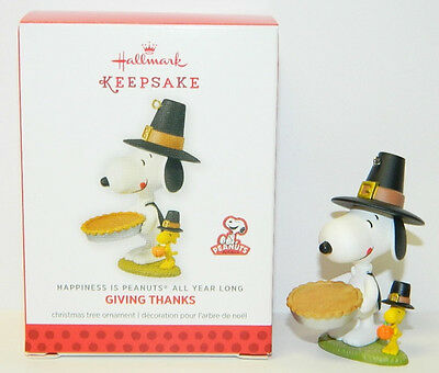 Peanuts Snoopy and Woodstock Giving Thanks Hallmark Keepsake Ornament, NEW BOXED