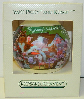 The Muppets, Miss Piggy and Kermit Hallmark Satin Ball Keepsake Ornament 1982