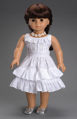 White Cotton & Lace 18 Inch Spring Doll Dress fits American Girl Dolls, NEW