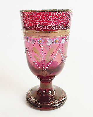 MOSER Bohemian RUBY RED Painted Enamel PURPLE GOLD ART GLASS Wine GOBLET 1880s
