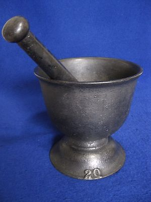 "Vintage Heavy Cast Iron 7"" Tall 2Q Mortar & 9-3/4"" Pestle"