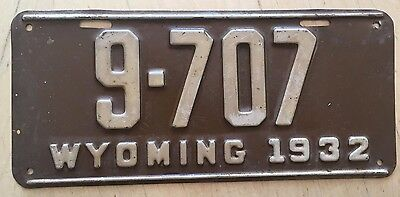 "1932 Wyoming Passenger Auto License Plate "" 9  707 "" Wy 32 Original Condition"