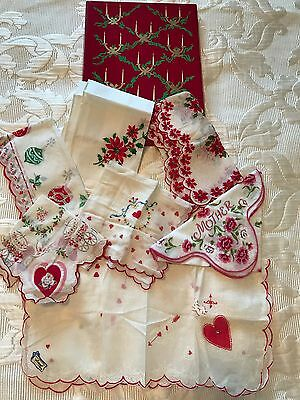 Box Vintage Red HOLIDAY Handkerchieves Christmas Mother's Day Valentines Day