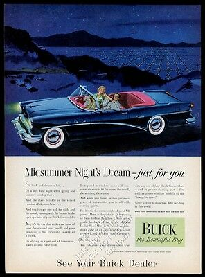 1954 Buick Century convertible black car night art vintage print ad