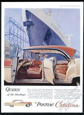 1956 Cunard RMS Queen Elizabeth ship photo Pontiac Catalina car vintage print ad