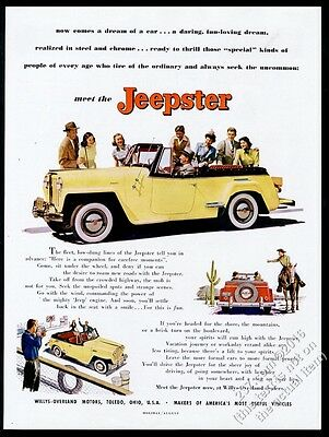 1948 Willys Jeep Jeepster yellow SUV color photo and art vintage print ad