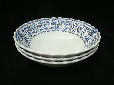 """Vtg Meakin FORUM Blue on White Classic 3-6 5/8"""" Cereal Soup Bowls England EUC"""