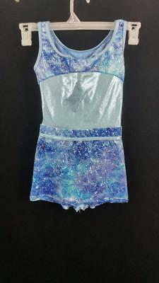Curtain Call Costumes dancewear size CL child large blue silver dance leotard