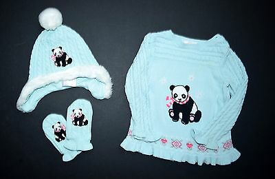 Janie and Jack Snowflake Panda 12-18 Bear Pullover Sweater Hat Mittens set NH1