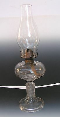 Antique Primitive Clear Glass Victor Oil Lamp w/Chimney Oak Leaf Swirl Decoratio