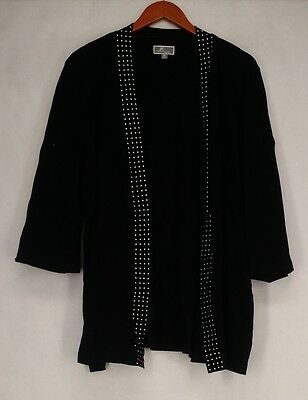JM Collection Sz 2X 3/4 Sleeve Open Front Embellished Cardigan Black Sweater