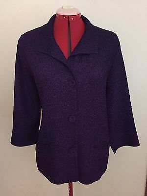 Chico's Travelers Collection Blazer Jacket Sz 2~Purple~Crinkle~Unlined