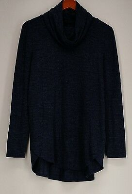 Lisa Rinna Collection Sweater S Cowl Neck Long Sleeve Tunic Blue