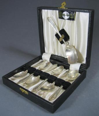 Vintage art deco EPNS cutlery 7 pc spoon boxed set Made in Sheffield England