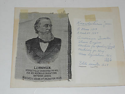 Woven Historical Textile L. J. Knowles Picture vintage Inventor Fancy Loom