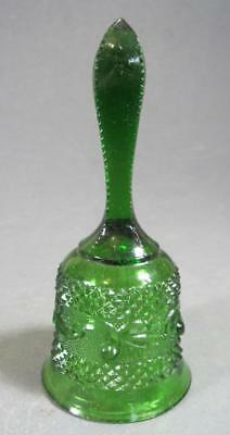 Vintage/retro 60s green glass hand bell -embossed pattern