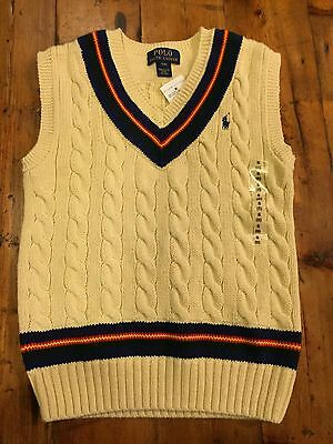RALPH LAUREN NWT Boy's Ivory Cable Cricket Sweater Vest- Size 8 Small- Ret $75