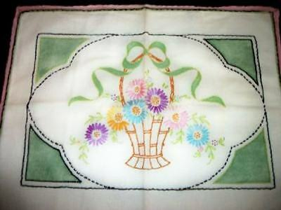 FLOWER BASKET BOW EMBROIDERED HAND TINTED PILLOW COVER 20s CHIC SHABBY COTTAGE