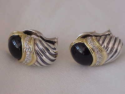 David Yurman 18K & Sterling Silver Diamond & Onyx Pierced Earrings Ret $1295.