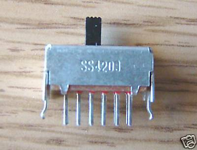 10 pcs 4PDT slide switch, pcb mount. 4C1c