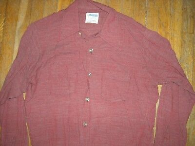 Vtg 50S Mens 16 Large Button Dress Gabardine Rayon Solid Red Shirt