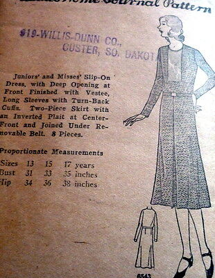 RARE VTG 1930s DRESS Sewing Pattern 15/33 OLD DEADSTOCK