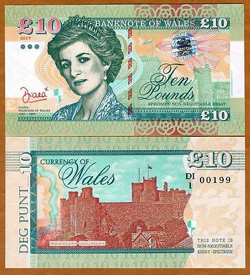 Wales (Great Britain), 10 Pounds, 2017, Private Issue, UNC > Princes Diana