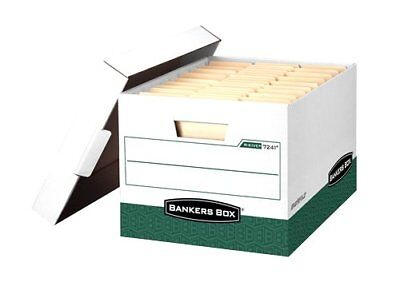 Bankers Box R-Kive Heavy-Duty Storage Boxes Letter/Legal White/Green 12 Pack 072