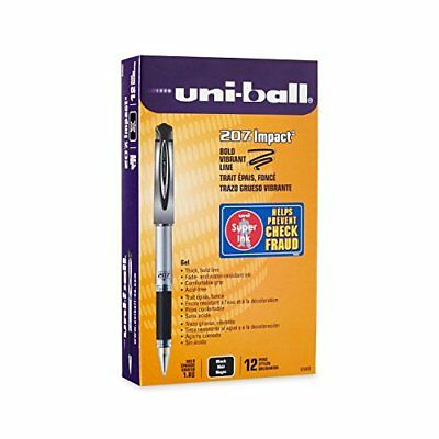 uni-ball 207 Impact Gel Pens Bold Point 1.0mm Black 12 Count, New