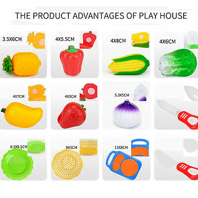12PC Cutting Fruit Vegetable Pretend Play Children Kid Educational Toy New