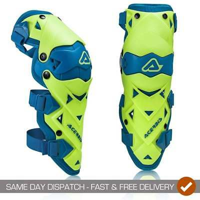 Acerbis Adults Impact Evo Hinged Motocross MX Enduro Knee Guards - Yellow/ Blue