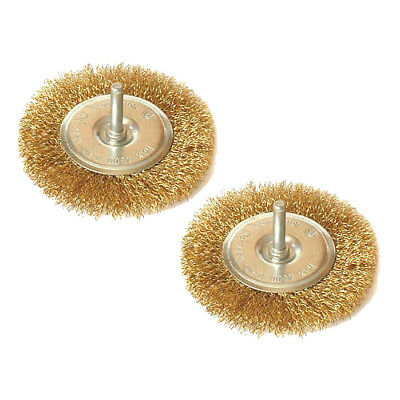 """2 Pack Of 4"""" (100Mm) Crimped Brass Coated Steel Wire Wheel Brush 1/4"""" Shank"""