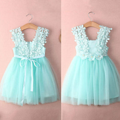 Baby Girls Princess Lace Tulle Flower Tutu Backless Gown Formal Party Dress Cute