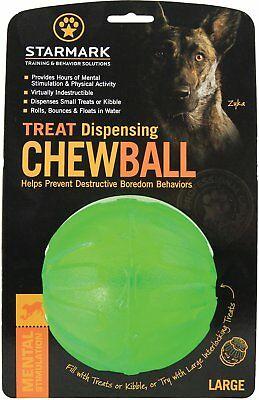 "StarMark Everlasting Fun Ball LARGE 4"" Treat Dispensing Chew Ball Rubber Dog Toy"