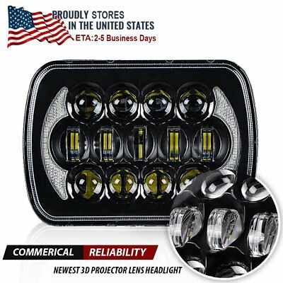 7x6 CREE LED H4 Headlight Hi/Lo DRL For 86-95 Jeep Wrangler YJ 84-01 Cherokee XJ