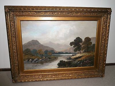 Antique Large Oil Painting On Canvas Signed R. Marshall In Original Ornate Frame