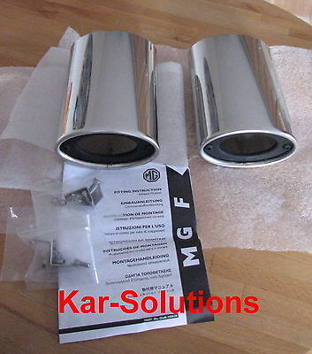 MG Rover F MGF New Pair Large Bore Chrome Exhaust Tail Pipe Trims DUB100620