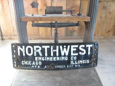 Huge Cast Iron Antique Northwest Engineering Drag Line Steam Shovel Sign Plaque