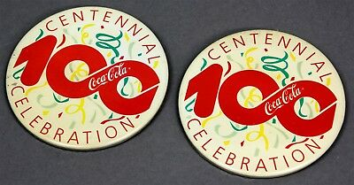 Lot of 2 Coca-Cola Coke 1986 Centennial Celebration Pinbacks Buttons Pins 3""