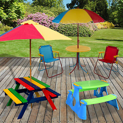 Kids Outdoor Table Bench Set Picnic Sandbox Toys With Cover Sandpit