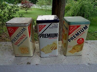 Vintage Lot Of 3 Nabisco Premium Saltine Crackers Tin Can Kitchen Spice Sign