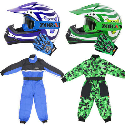 Leopard Green Kids Motocross Motorbike MX Helmet Goggles Gloves Race Suit QUAD