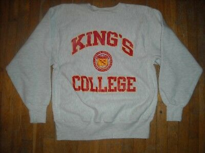Vtg Large 80S Kings College Wilkes Barre Gray Champion Reverse Weave Sweat Shirt