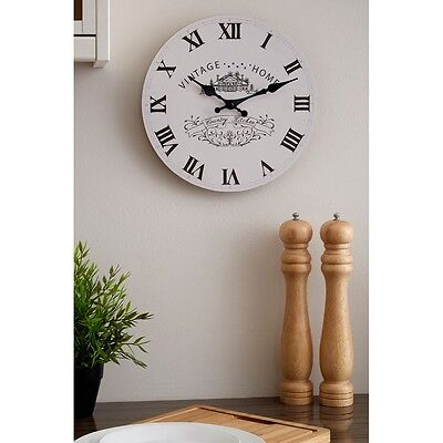 29cm Maison Cream Wall Clock Small Vintage Shabby Chic Kitchen Time Mechanism