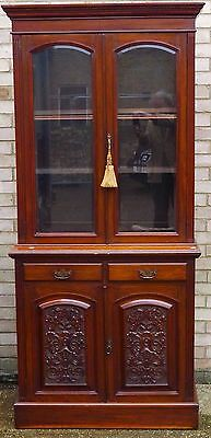 Antique Victorian Mahogany American Walnut Library Office Bookcase