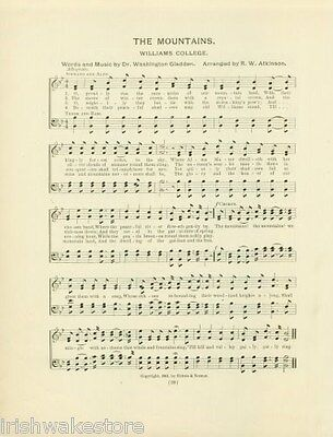 """WILLIAMS COLLEGE Alma Mater Song 1906:  """"The Mountains"""""""